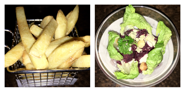 Hand cut fries,Stilton blue cheese and oven roasted beetroot salad