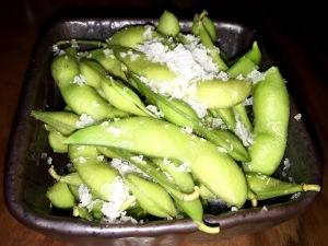 Edamame beans, Steamed edamame with rock salt