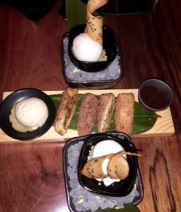 Apple and banana Harumaki,Coconut ice cream, Lychee sorbet