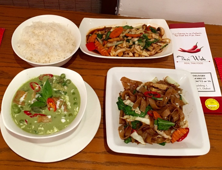 Jasmine Rice,Stir fried veggies,Thai green curry,Rice noodles in chili sauce