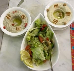 Hummus,Moutabel,Garden Salad