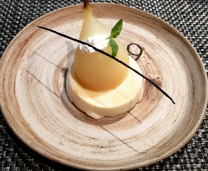 Panna Cotta,Poached Pear