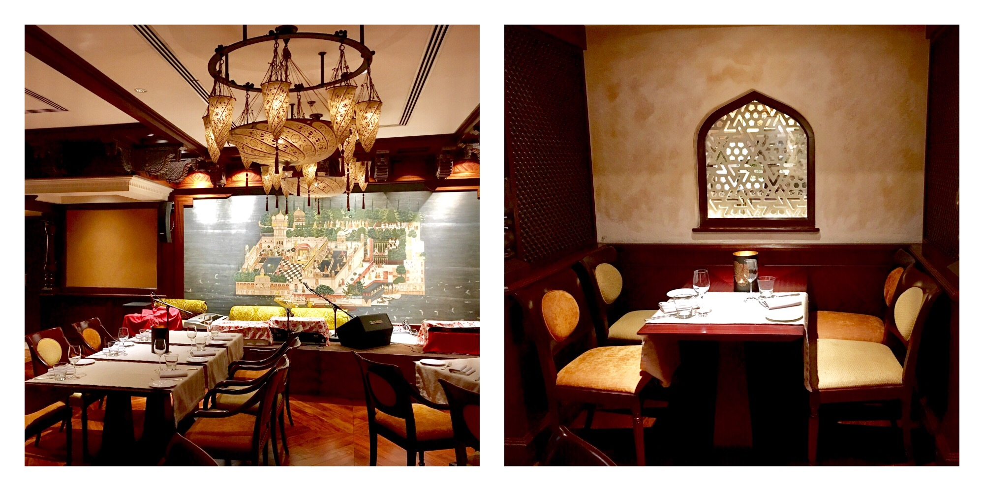 the decor of the restaurant is regal classy and elegant done up in the hues of dark wood and beige with exquisite chandeliers in the centre