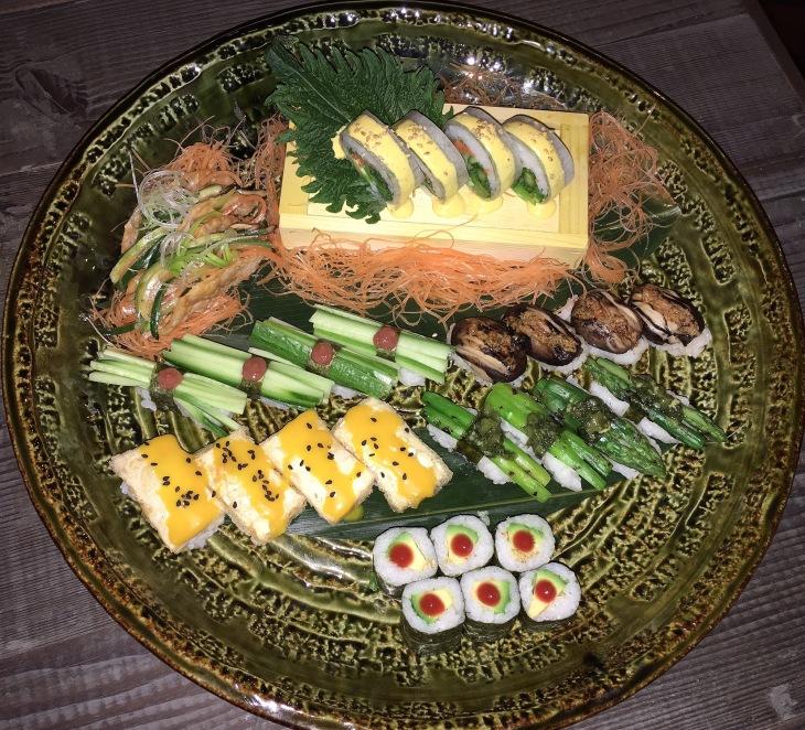 Vegetarian sushi and Nigiri
