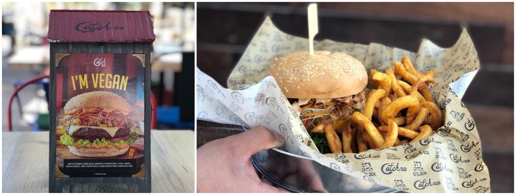 Vegan burger at Catch 22